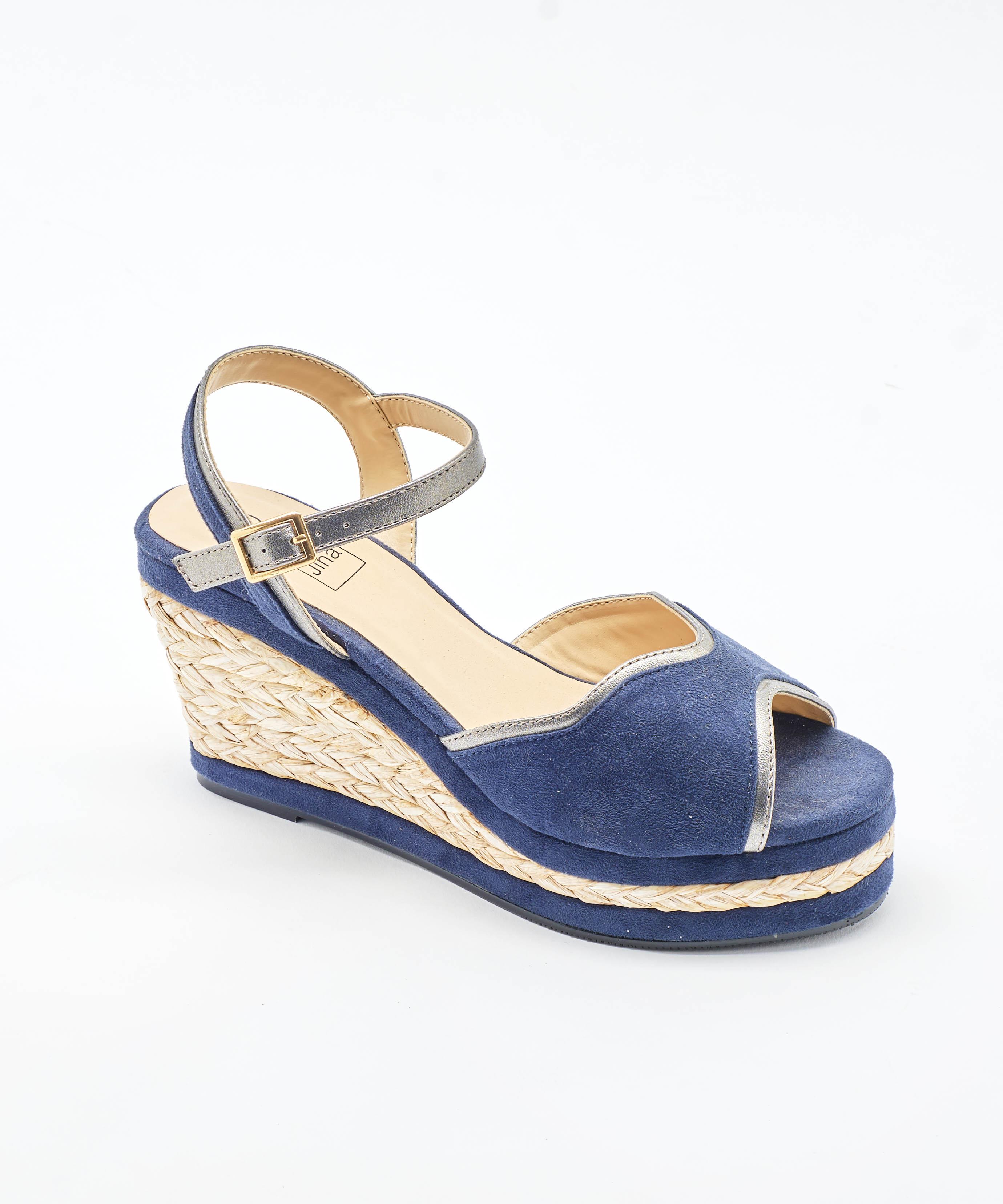 Sandales Compensées Femme - Sandale Talon Compensee Marine Jina - Style 1