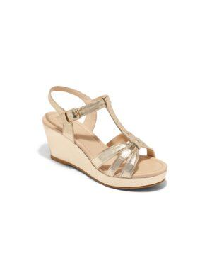 Sandales Compensées Femme - Sandale Talon Compensee Or Jina - Vroad Noel 2