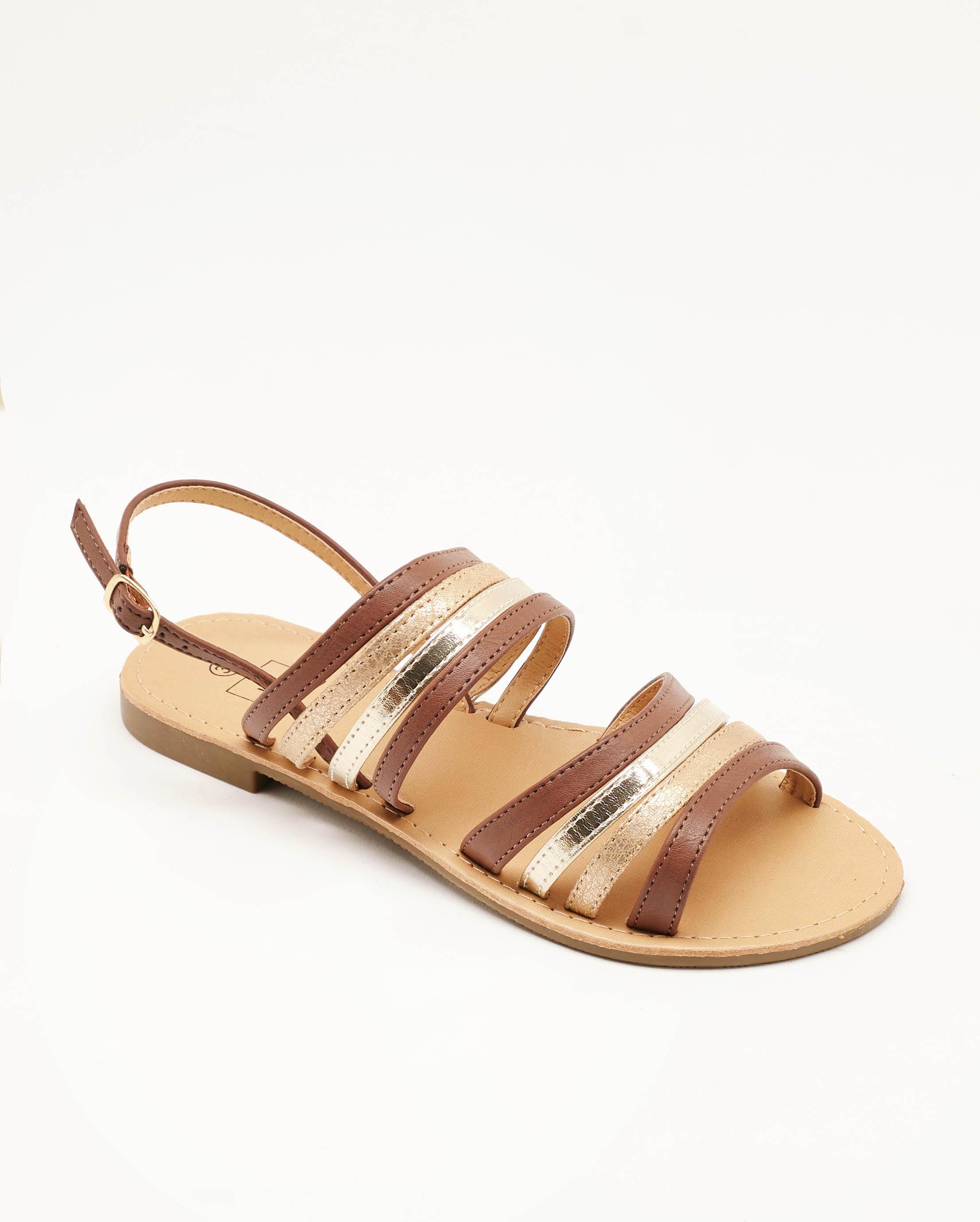 Sandales Plates Femme - Sandale Plate Camel Jina - Naelle