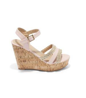 Sandales Compensées Femme - Sandale Talon Compensee Rose Jina - 8s0015
