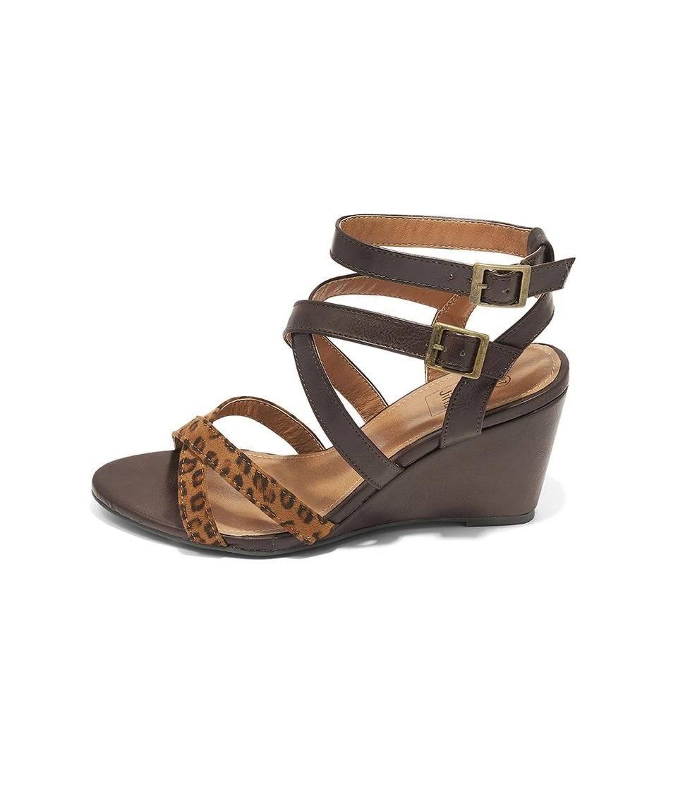 Sandales Compensées Femme - Sandale Talon Compensee Chocolat Jina - Lc999-Df1