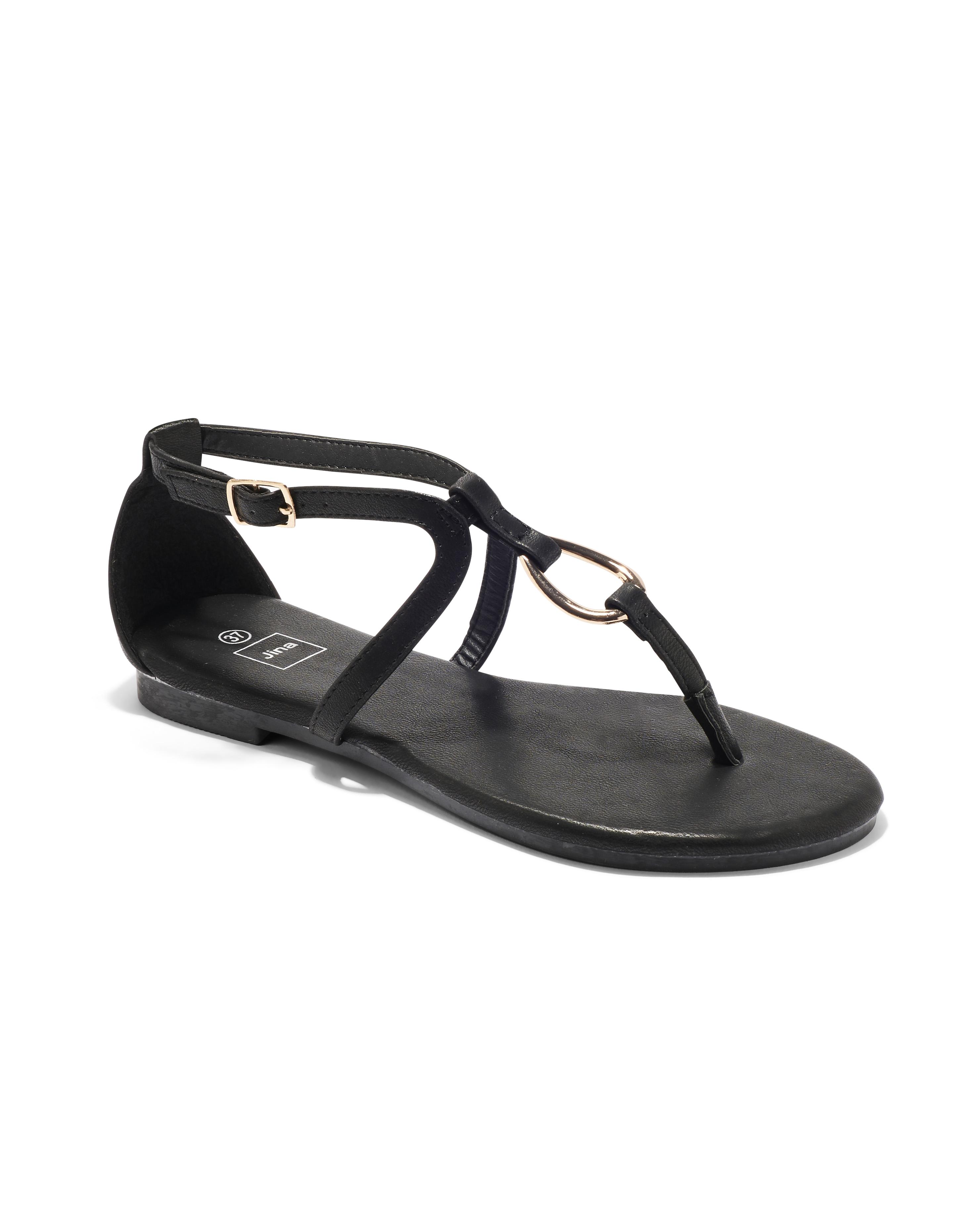 Sandales Plates Femme - Sandale Plate Noir Jina - Sapl Zh6