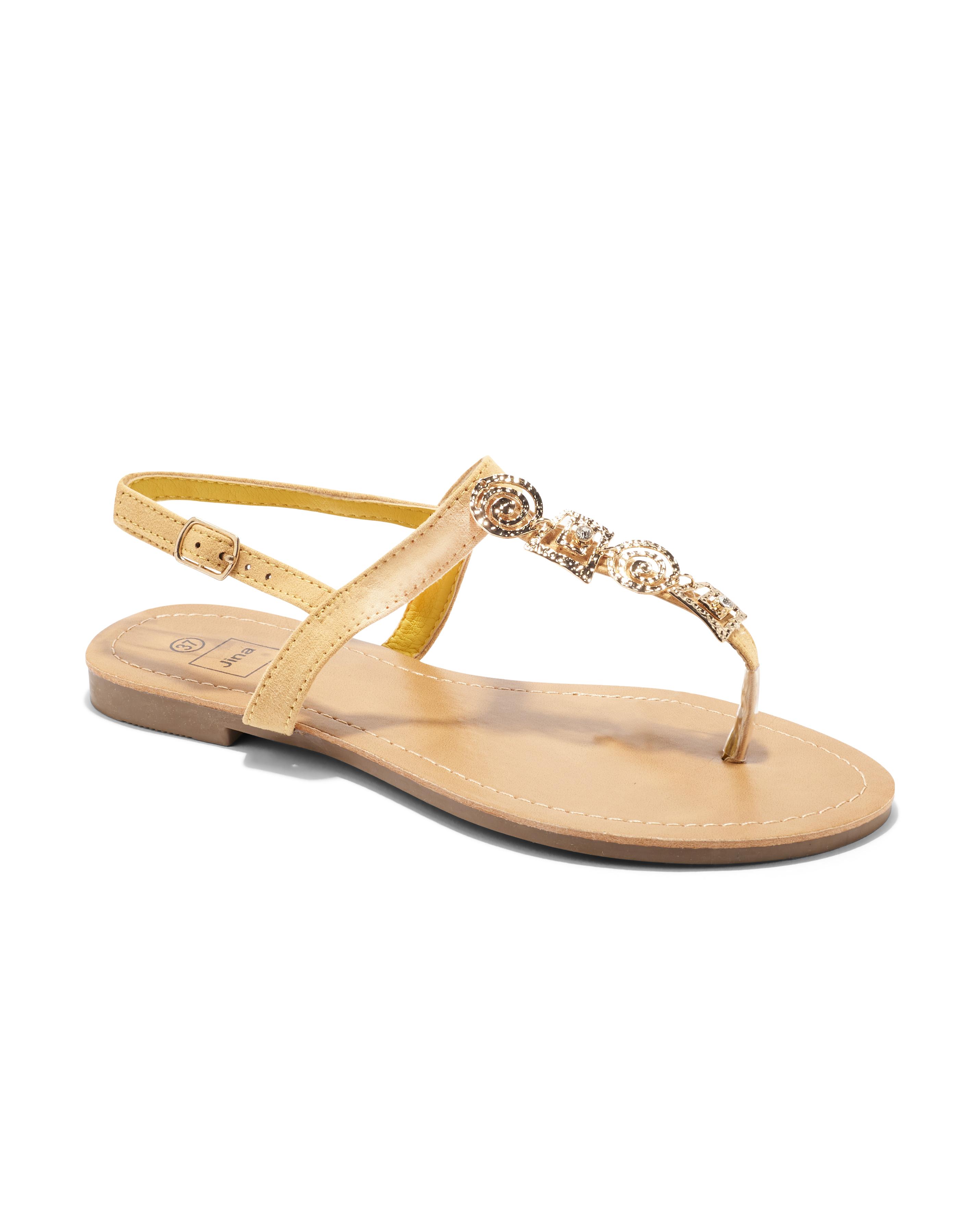 Sandales Plates Femme - Sandale Plate Moutarde Jina - Sapl Zh7