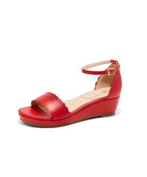 Sandales Compensées Femme - Sandale Talon Compensee Rouge Jina - Ys-Eq37-1