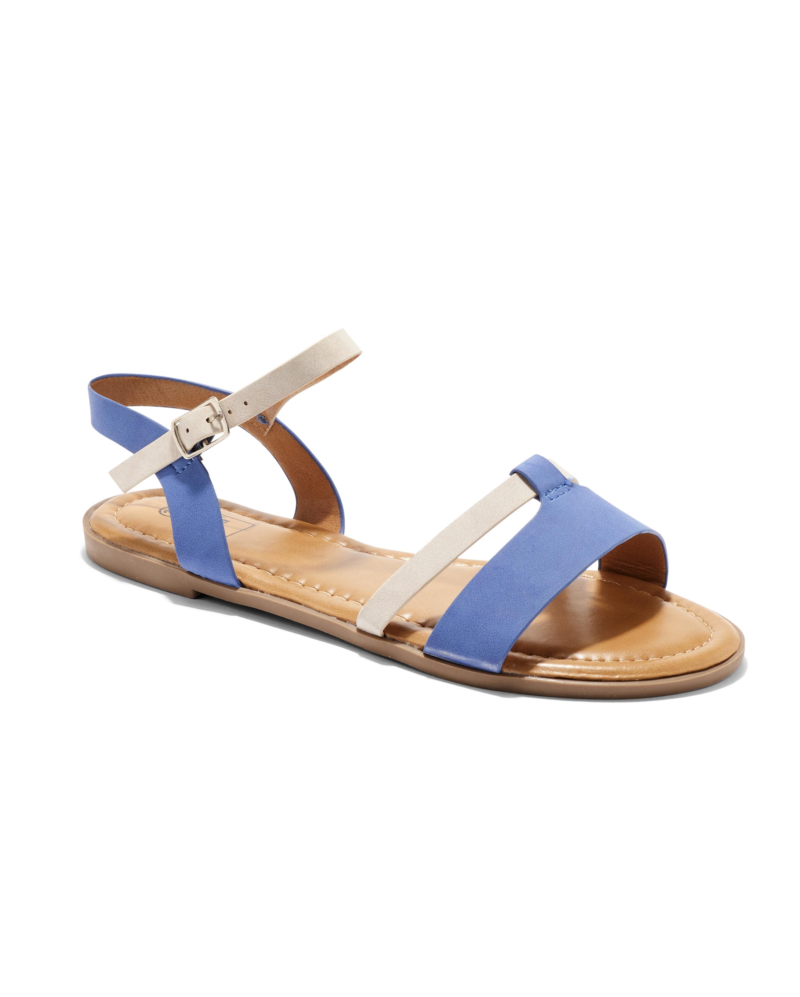 Sandales Plates Femme - Sandale Plate Bleu Jina - Sapl Zh1
