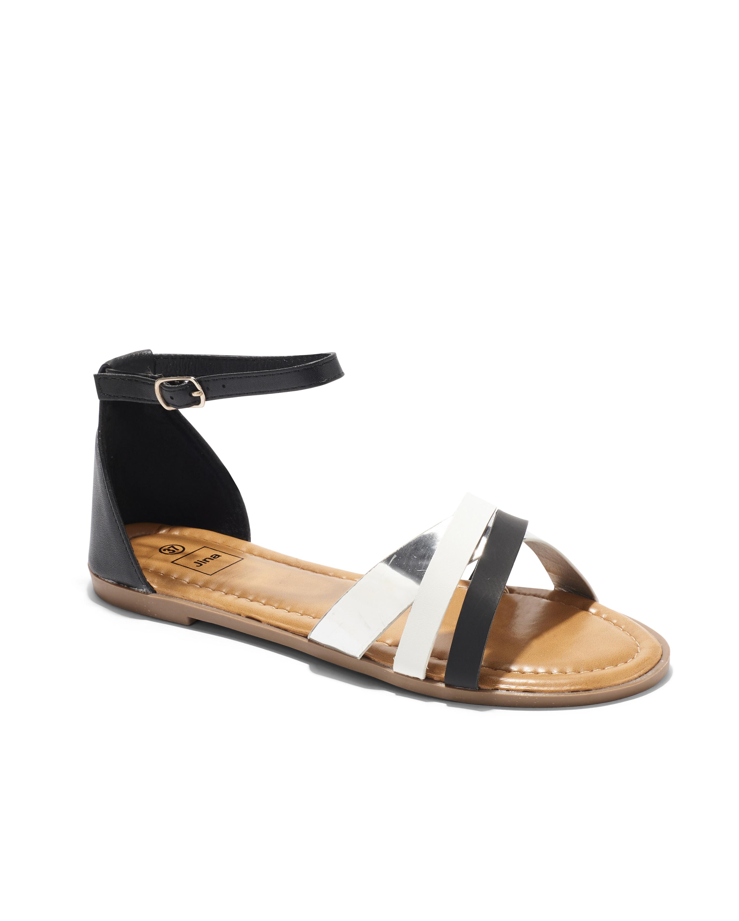 Sandales Plates Femme - Sandale Plate Noir Jina - Sapl Zh2