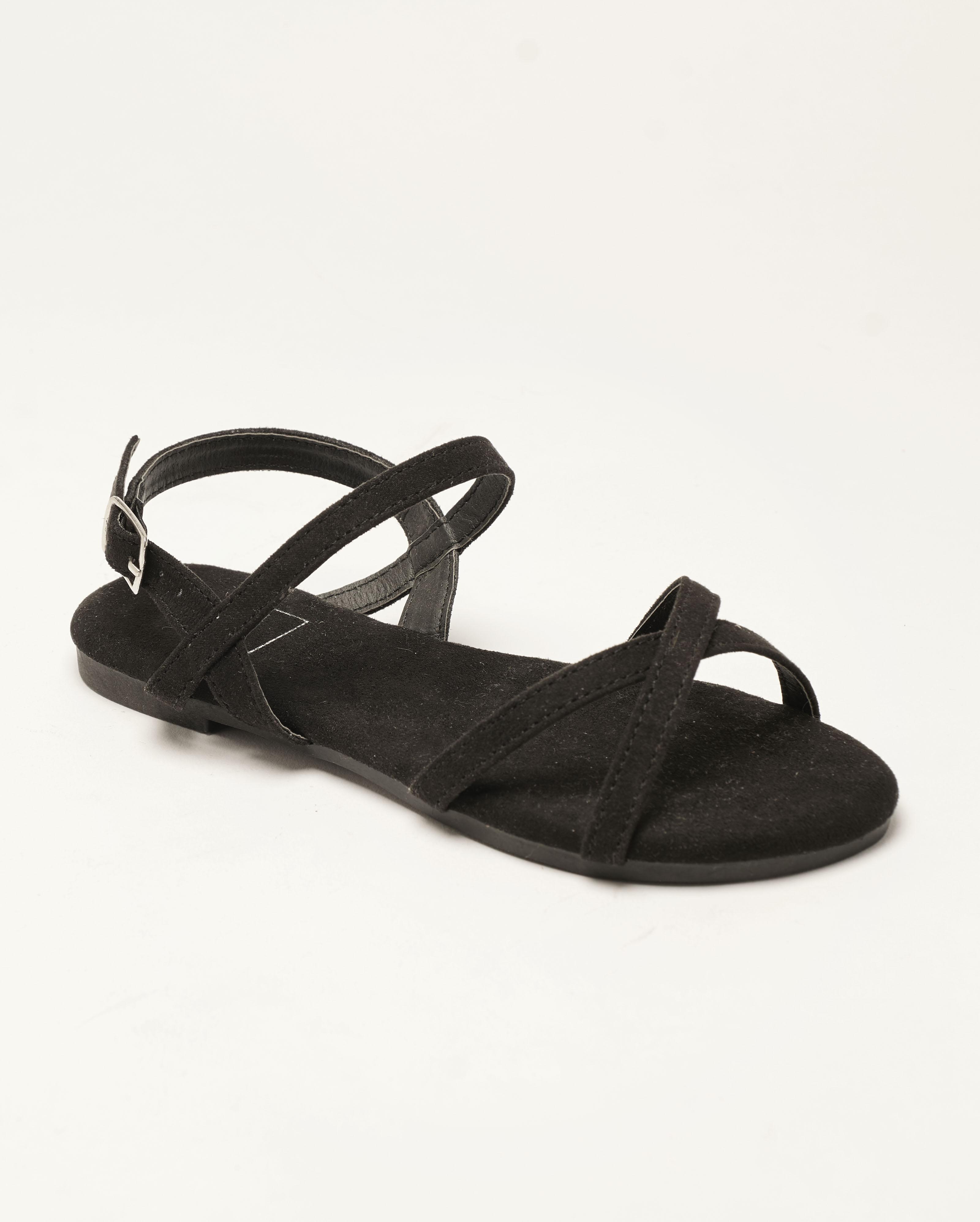 Sandales Plates Femme - Sandale Plate Noir Jina - Sapl Zh3