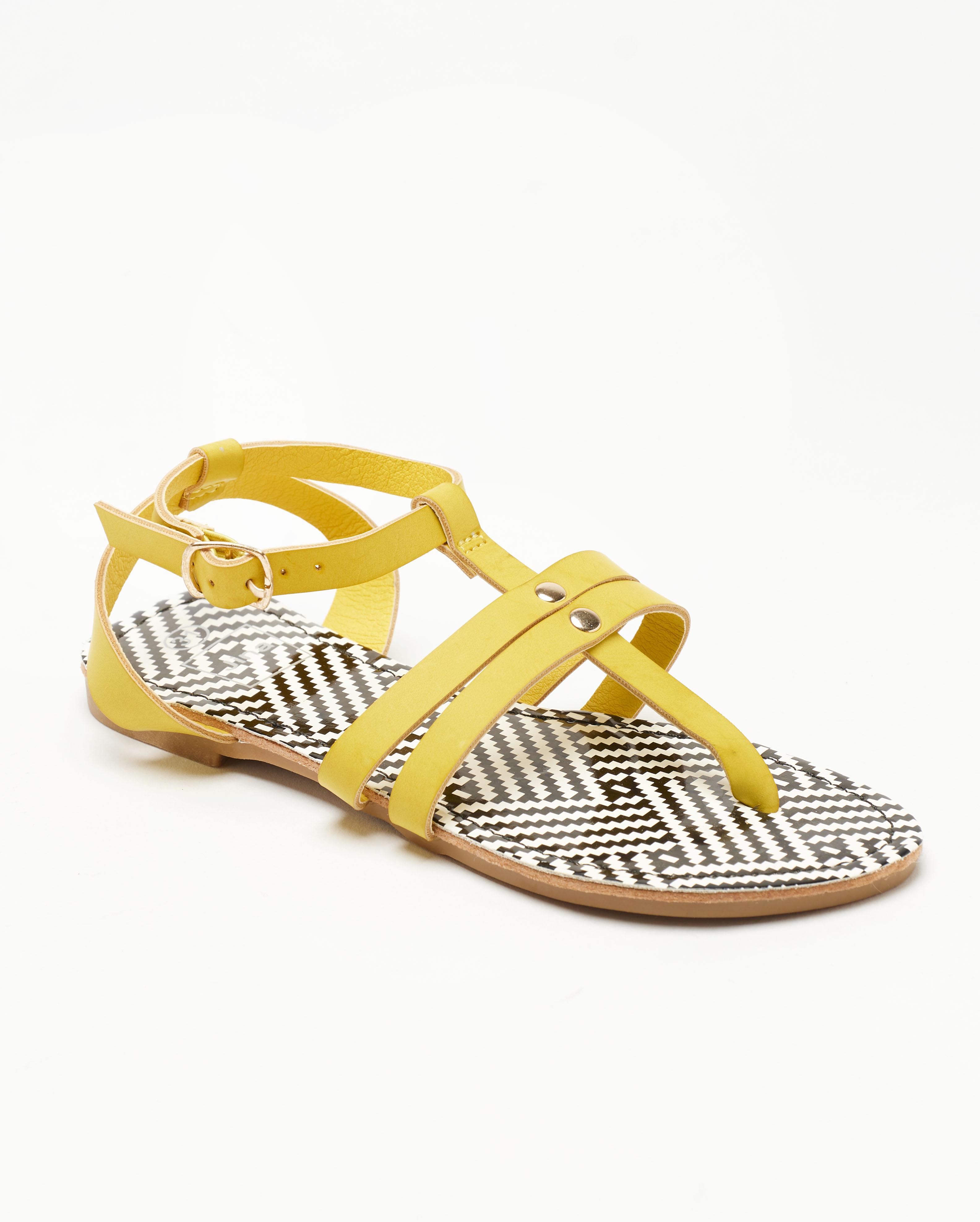 Sandales Plates Femme - Sandale Plate Jaune Jina - Sapl Zh4