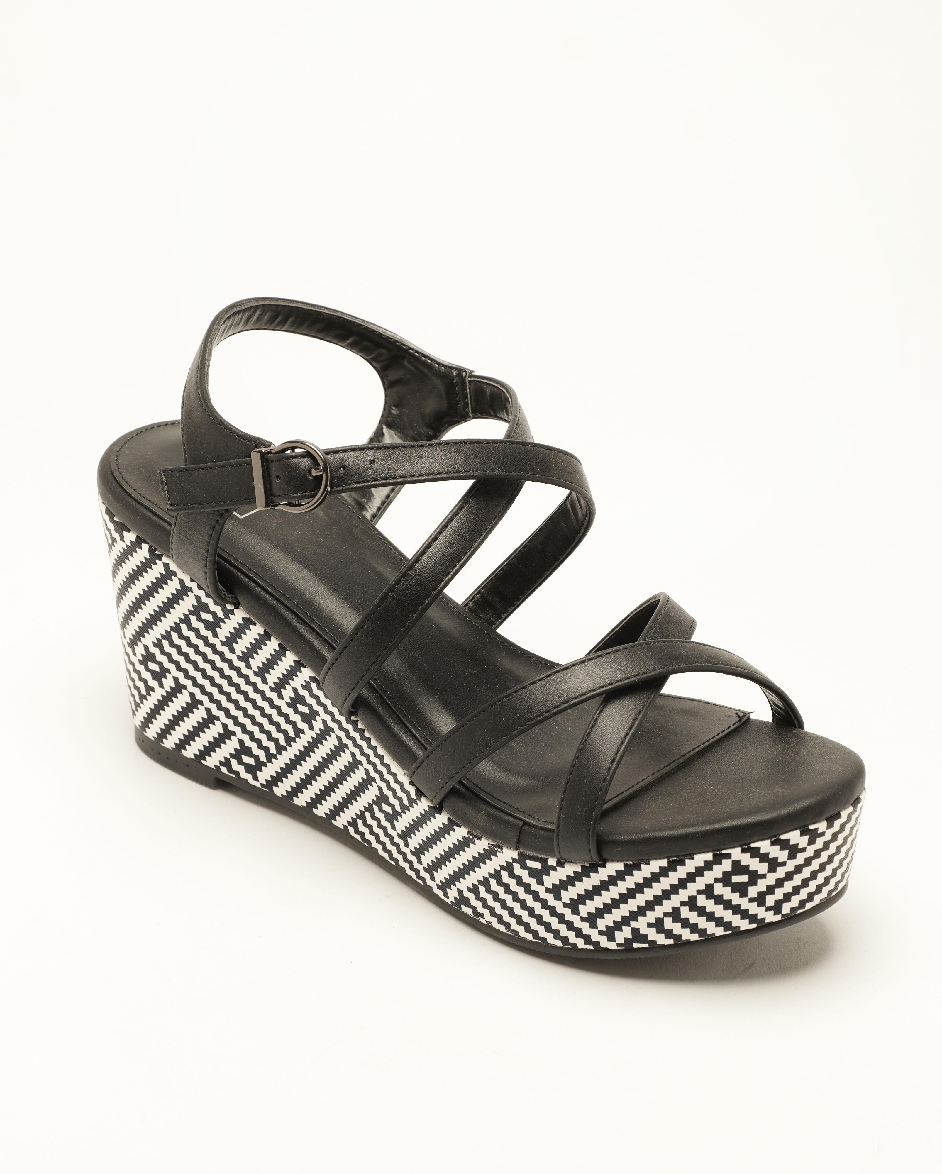 Sandales Compensées Femme - Sandale Talon Compensee Noir Jina - Fs19-112905
