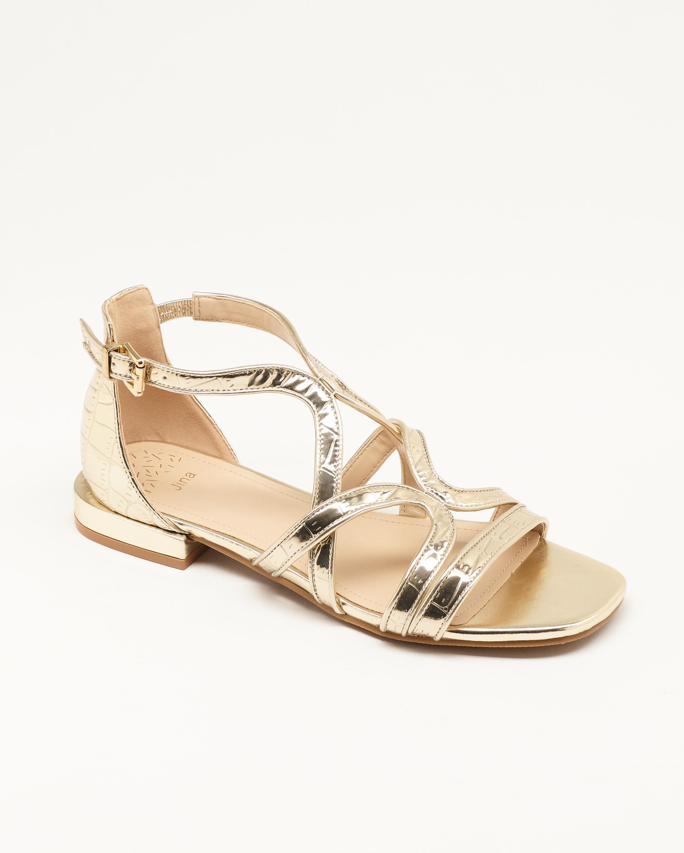 Sandales Plates Femme - Sandale Plate Or Jina - Ls1793g-88