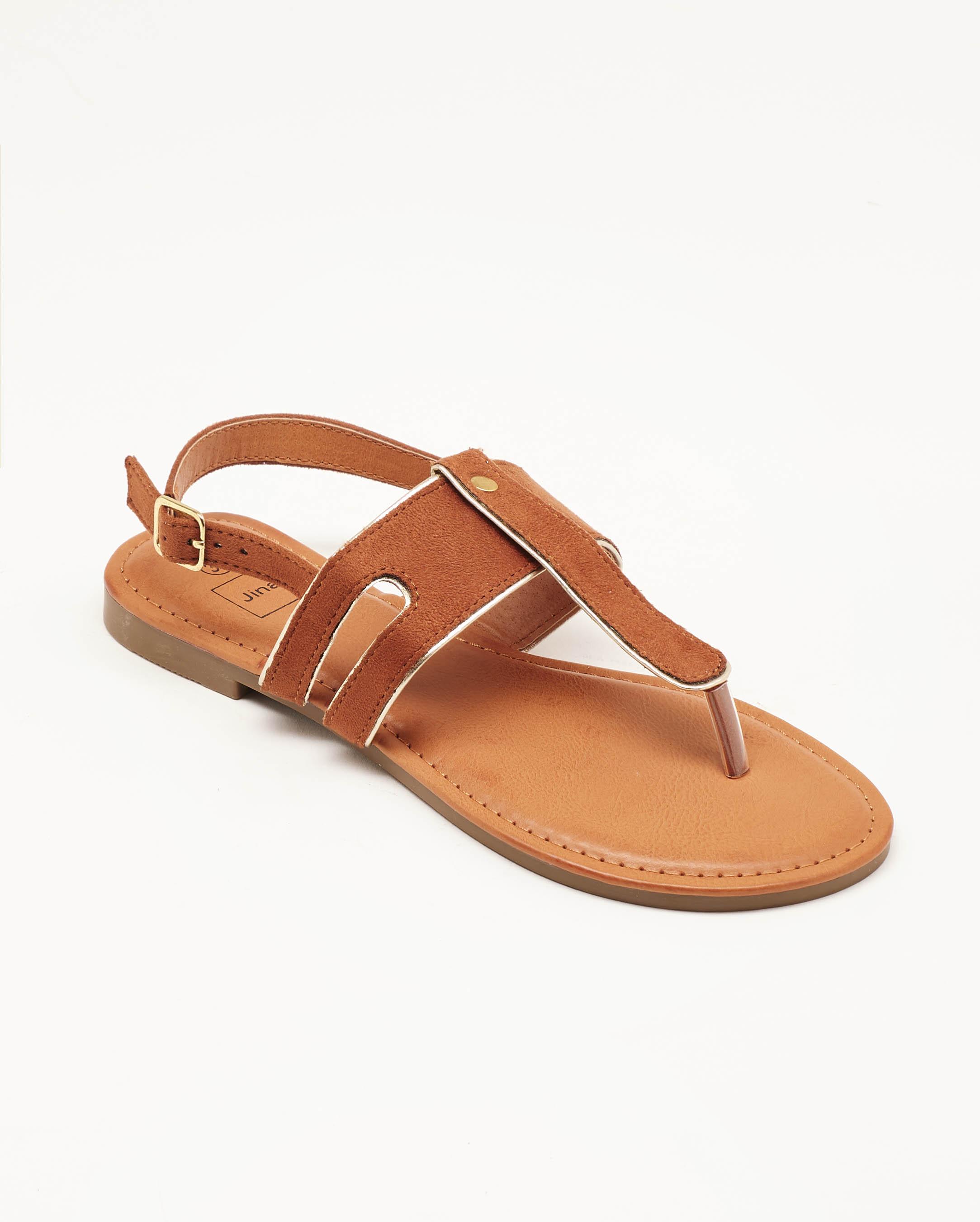 Sandales Plates Femme - Sandale Plate Camel Jina - Nady