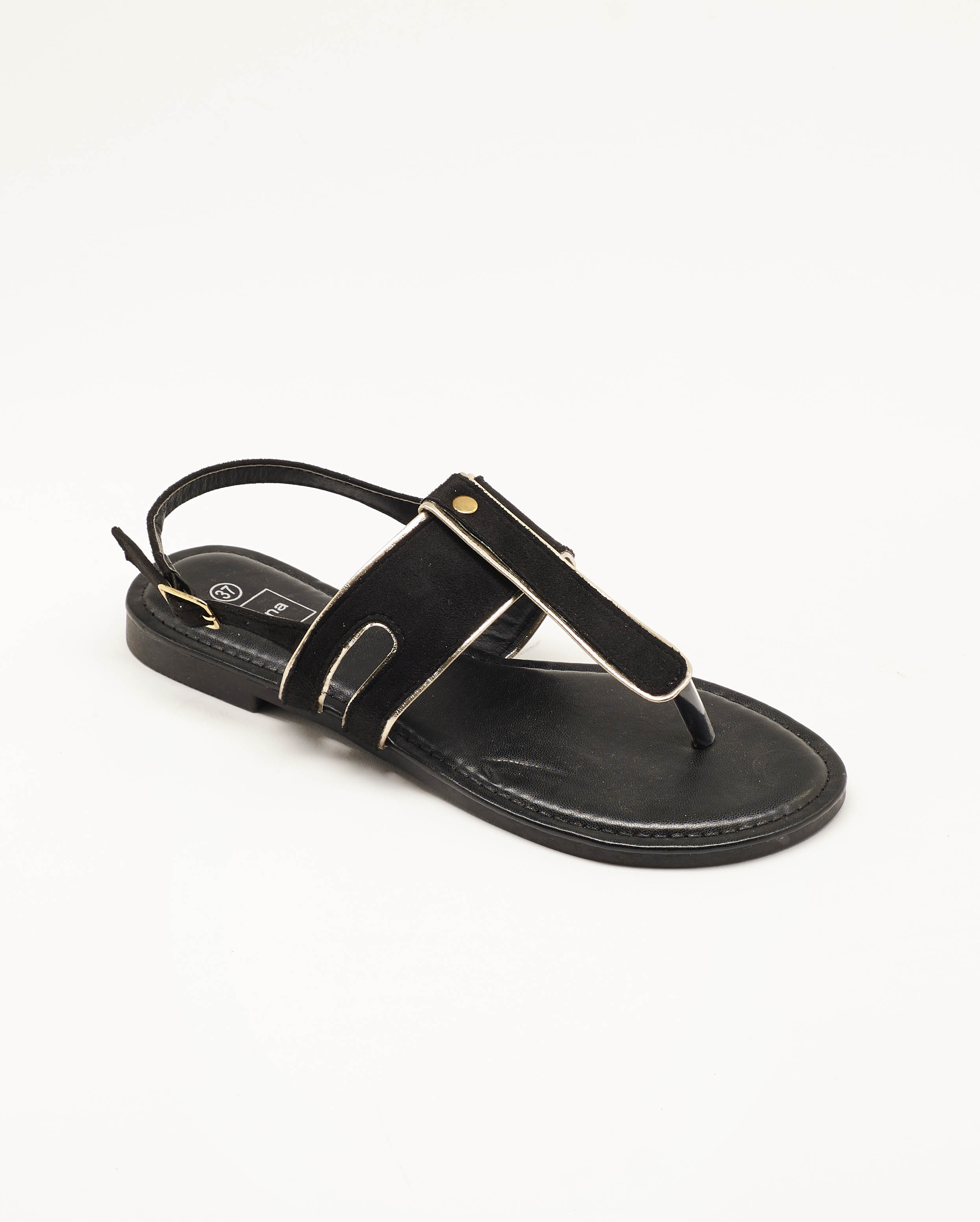 Sandales Plates Femme - Sandale Plate Noir Jina - Nady