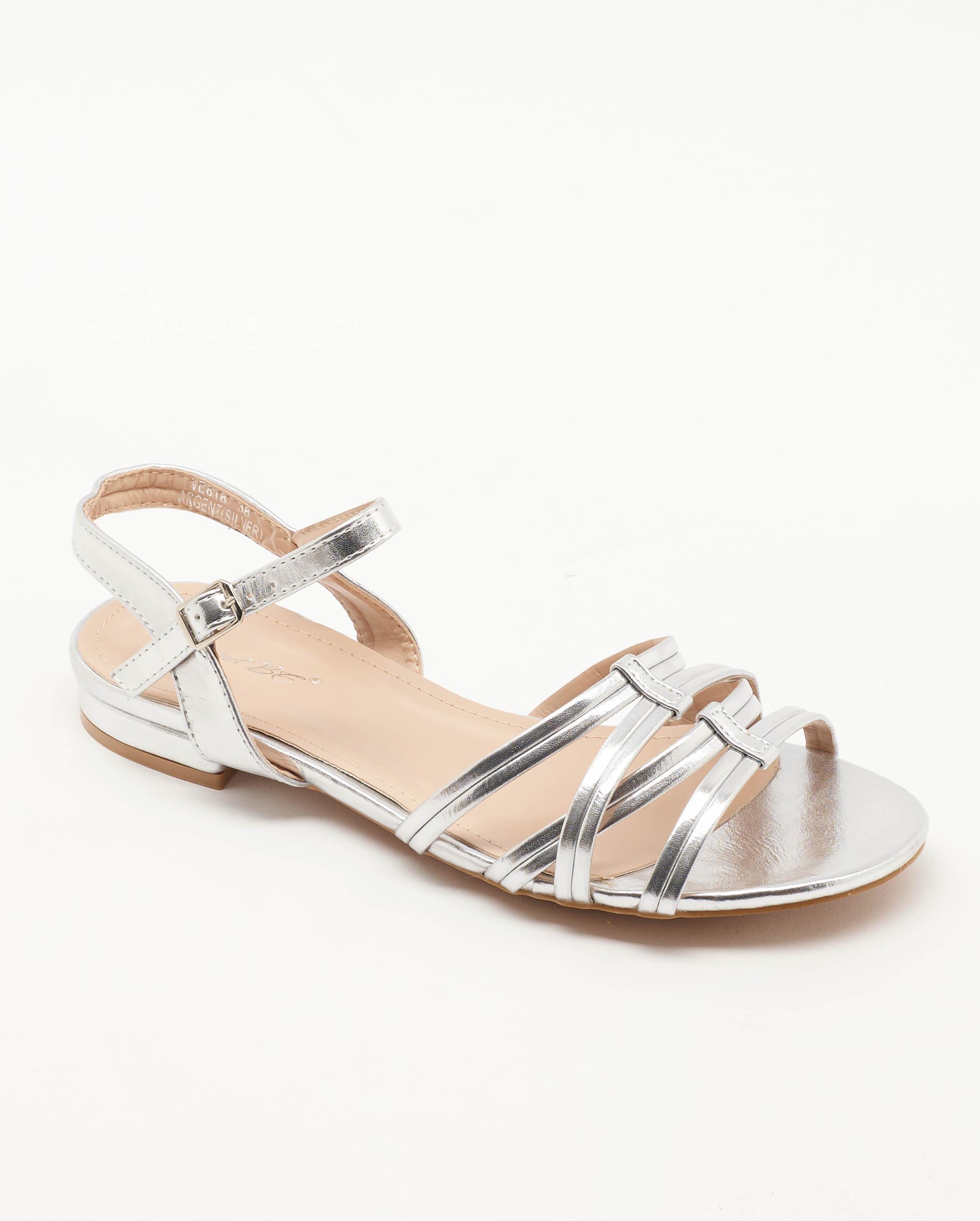 Sandales Plates Femme - Sandale Plate Argent Jina - Ve818