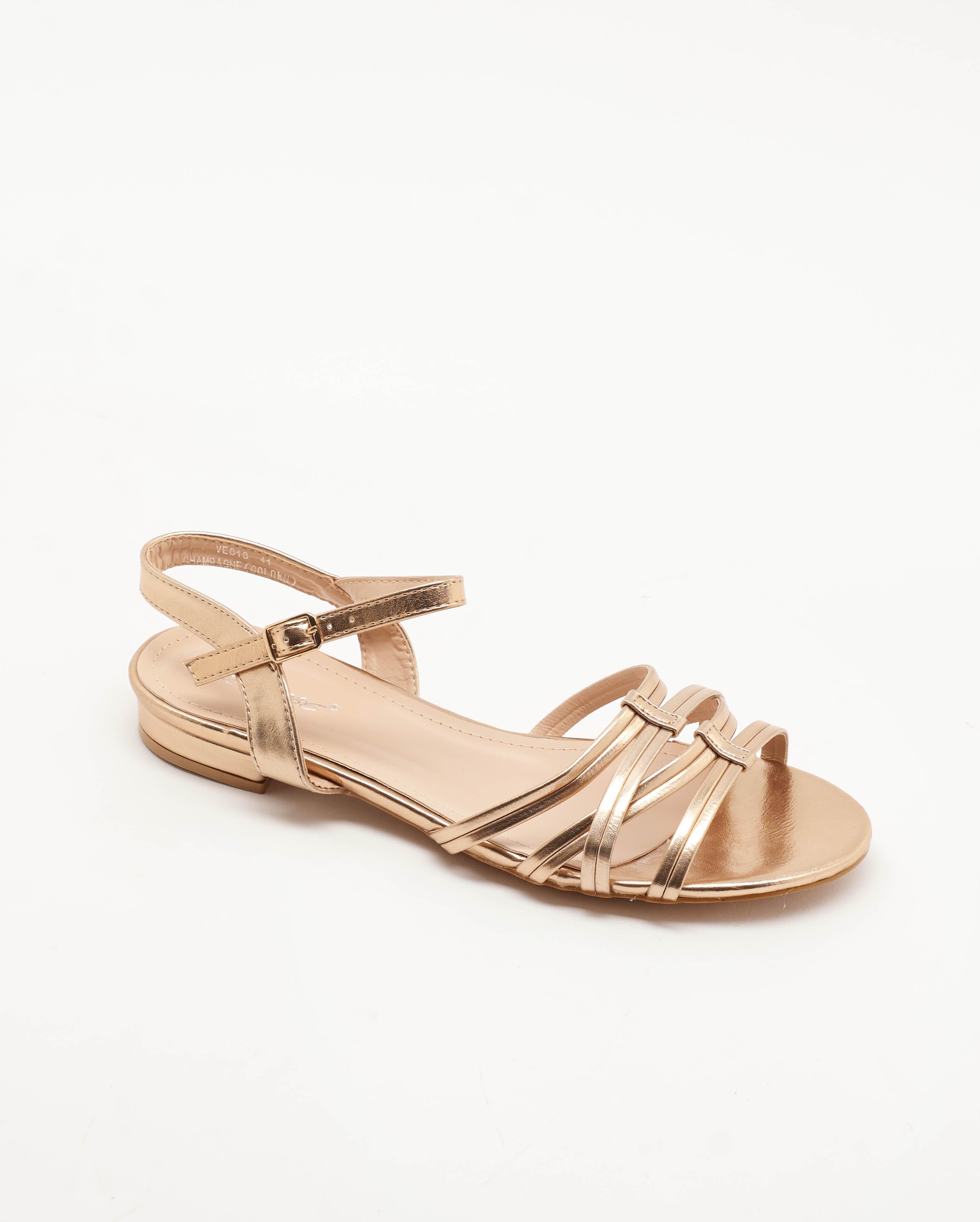 Sandales Plates Femme - Sandale Plate Champagne Jina - Ve818
