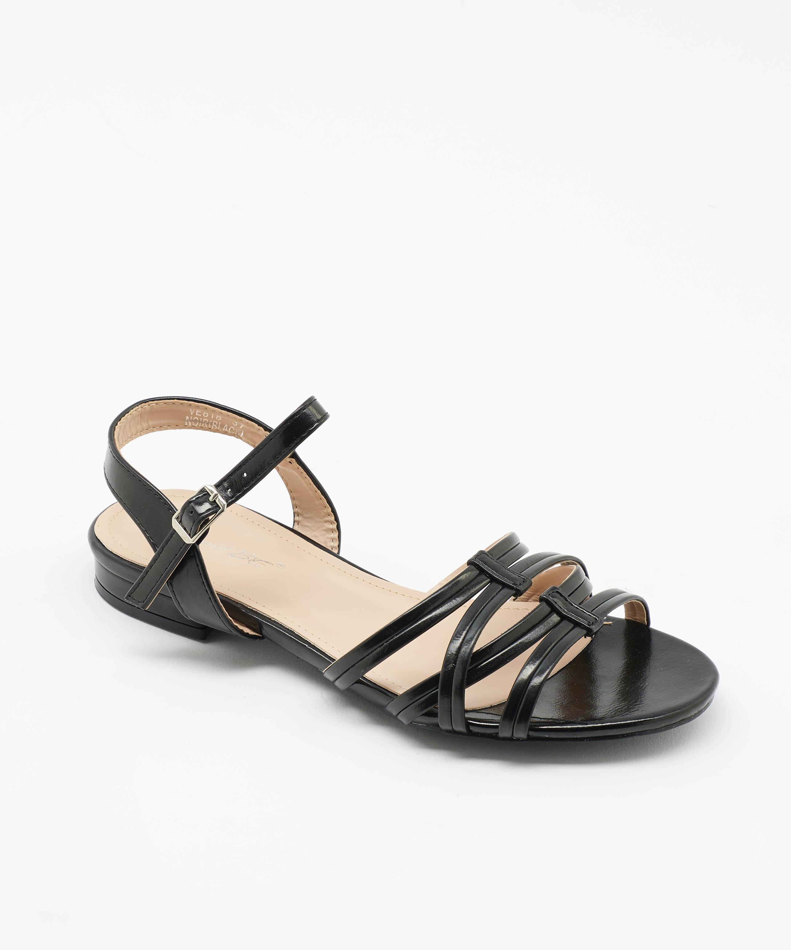 Sandales Plates Femme - Sandale Plate Noir Jina - Ve818