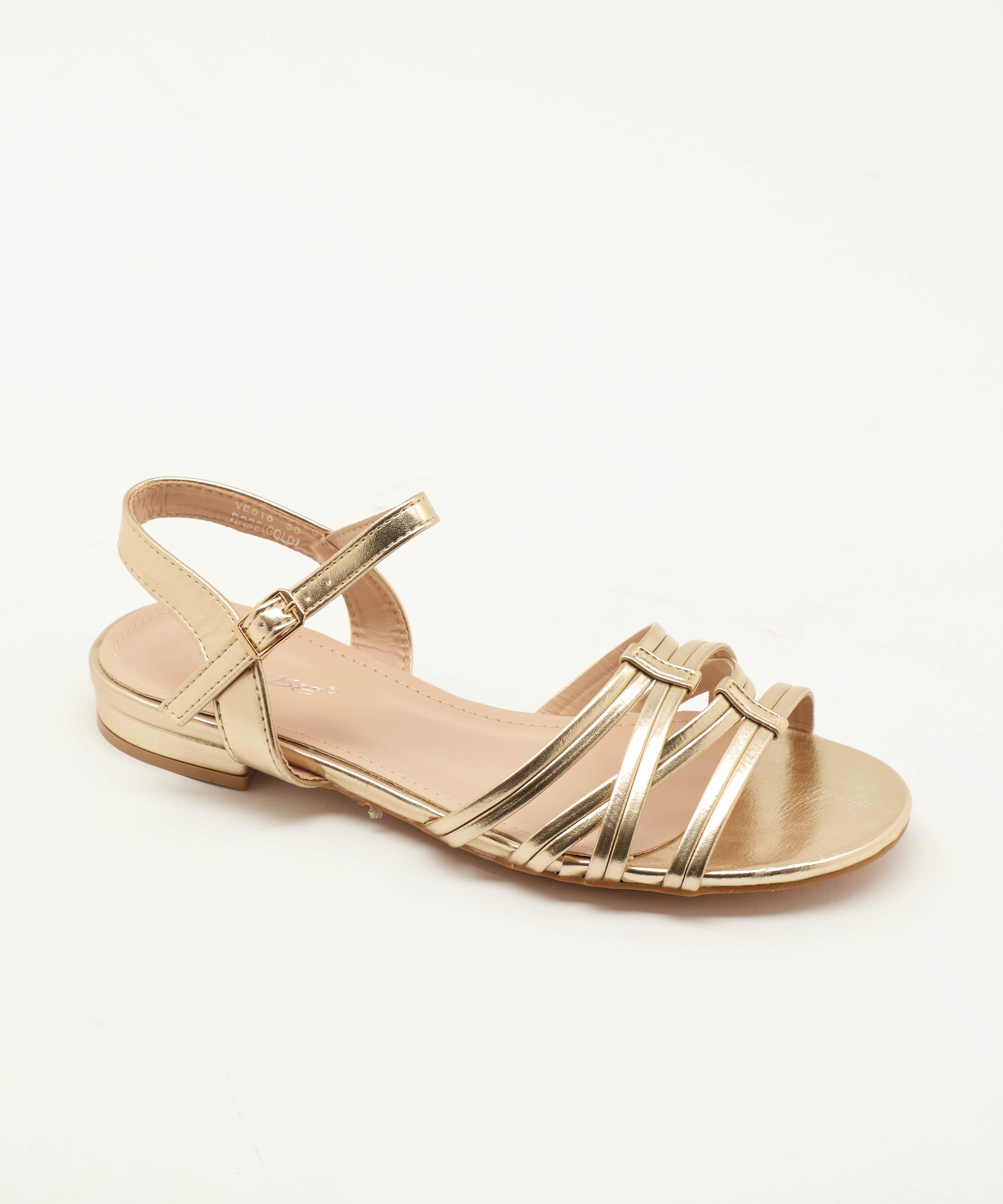 Sandales Plates Femme - Sandale Plate Or Jina - Ve818