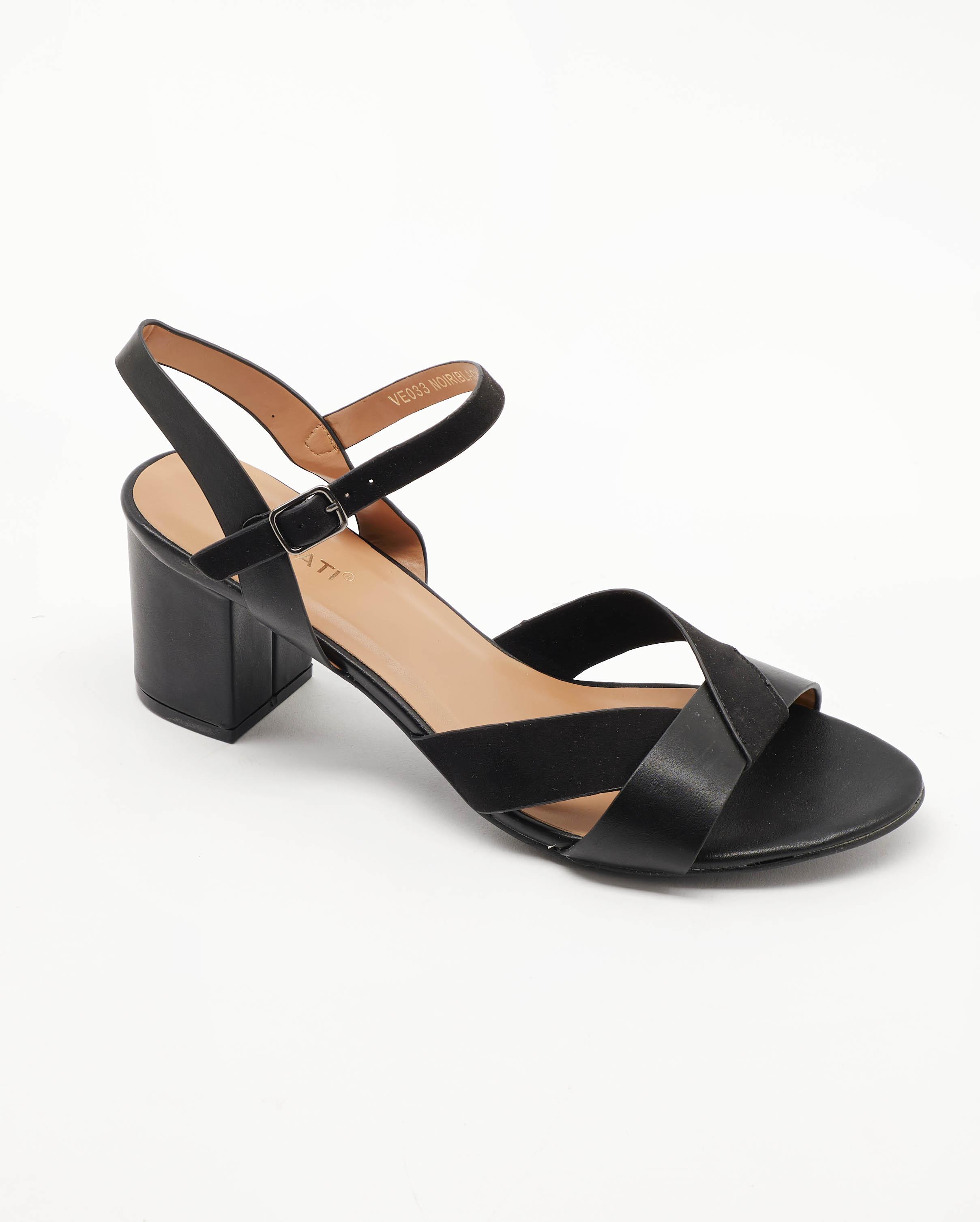 Sandales À Talons Femme - Sandale Talon Decrochee Noir Jina - Ve017