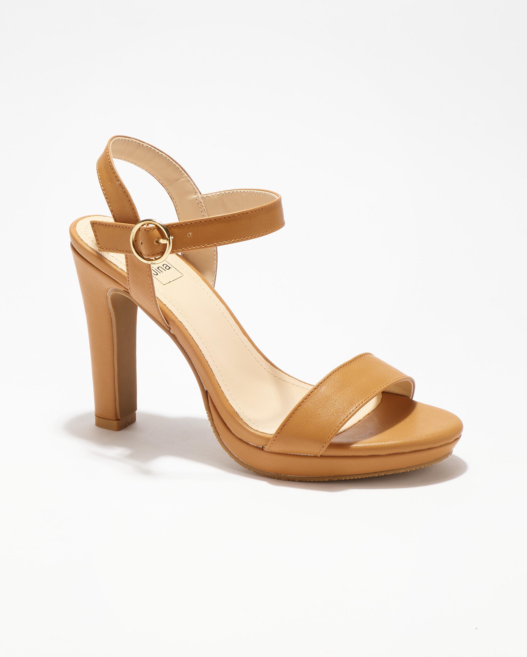 Sandales À Talons Femme - Sandale Talon Decrochee Camel Jina - Ls695c-50