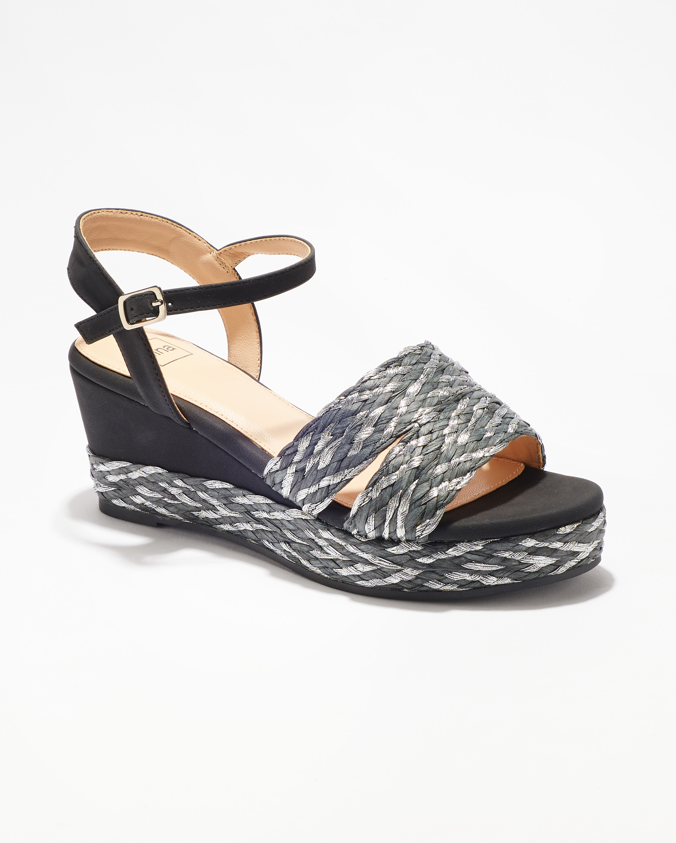 Sandales Compensées Femme - Sandale Talon Compensee Noir Jina - Mgf13-H04