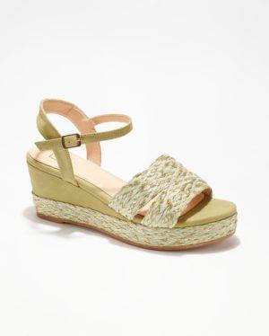 Sandales Compensées Femme - Sandale Talon Compensee Vert Jina - Mgf13-H04