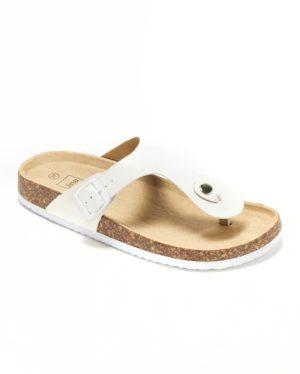 Mules Femme - Mule Plate Blanc Jina - G123el50401