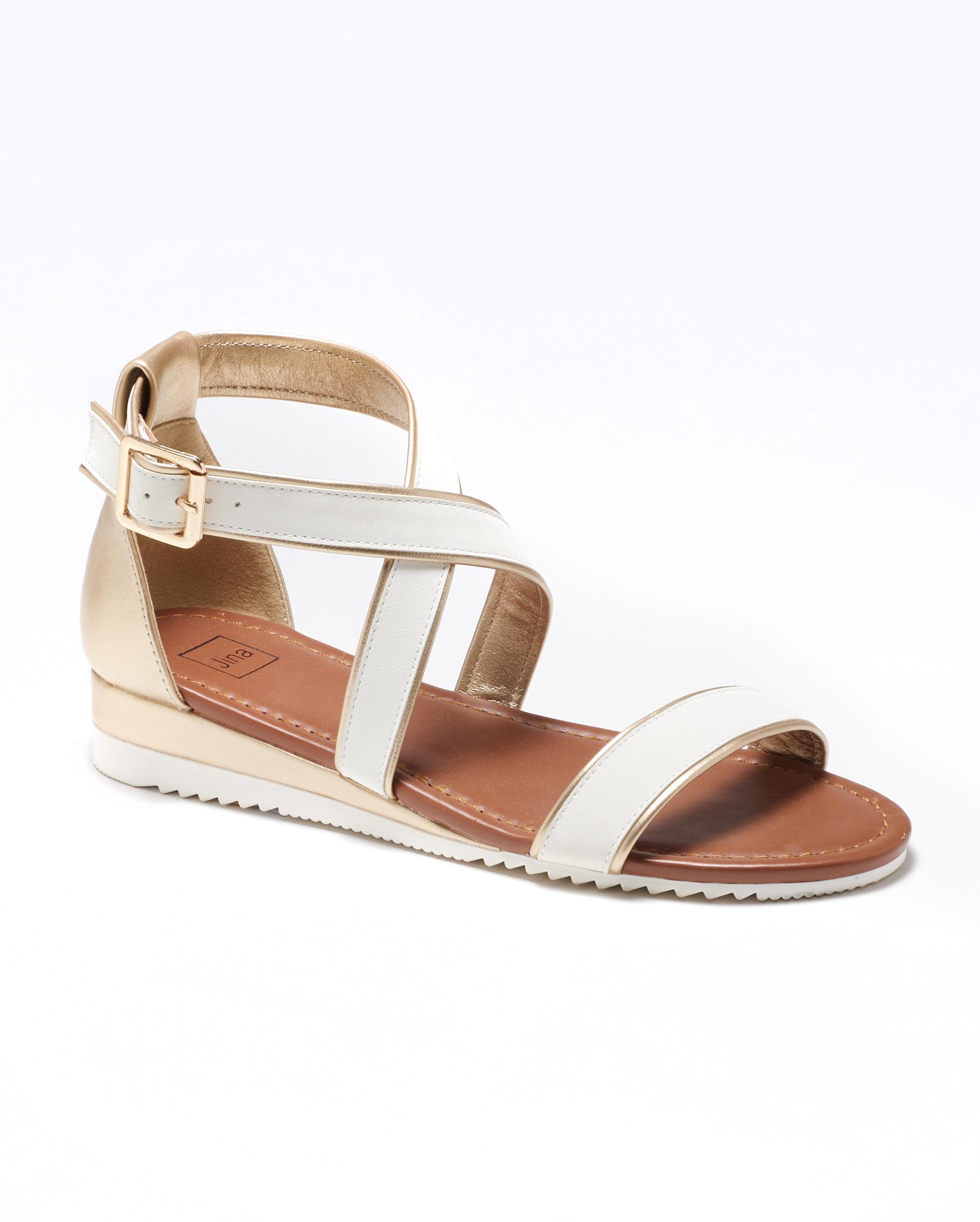 Sandales Compensées Femme - Sandale Talon Compensee Blanc Jina - Fs19-112903