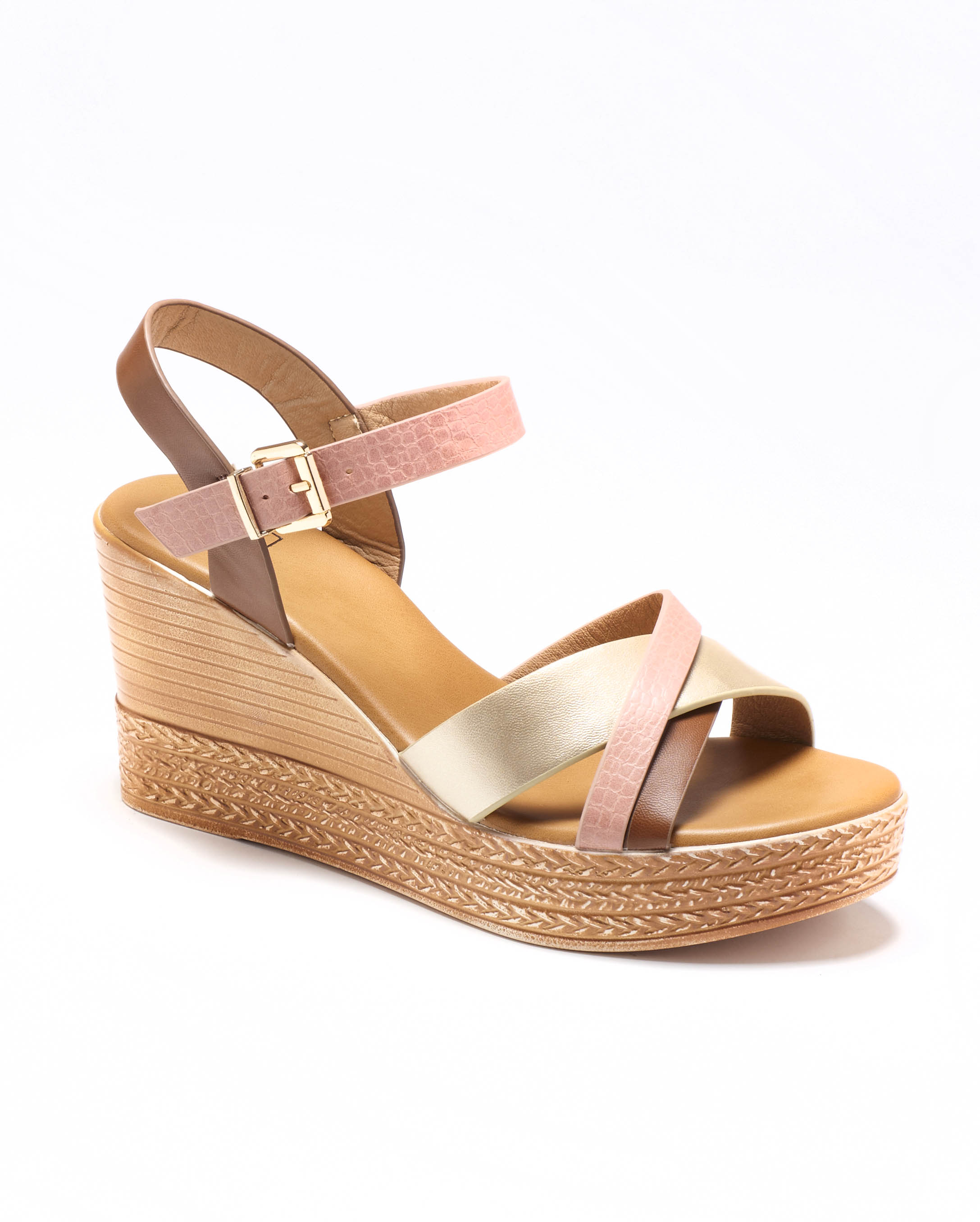 Sandales Compensées Femme - Sandale Talon Compensee Camel Jina - Ksl031