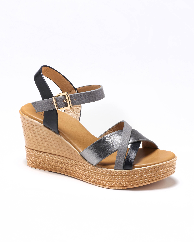 Sandales Compensées Femme - Sandale Talon Compensee Noir Jina - Ksl031