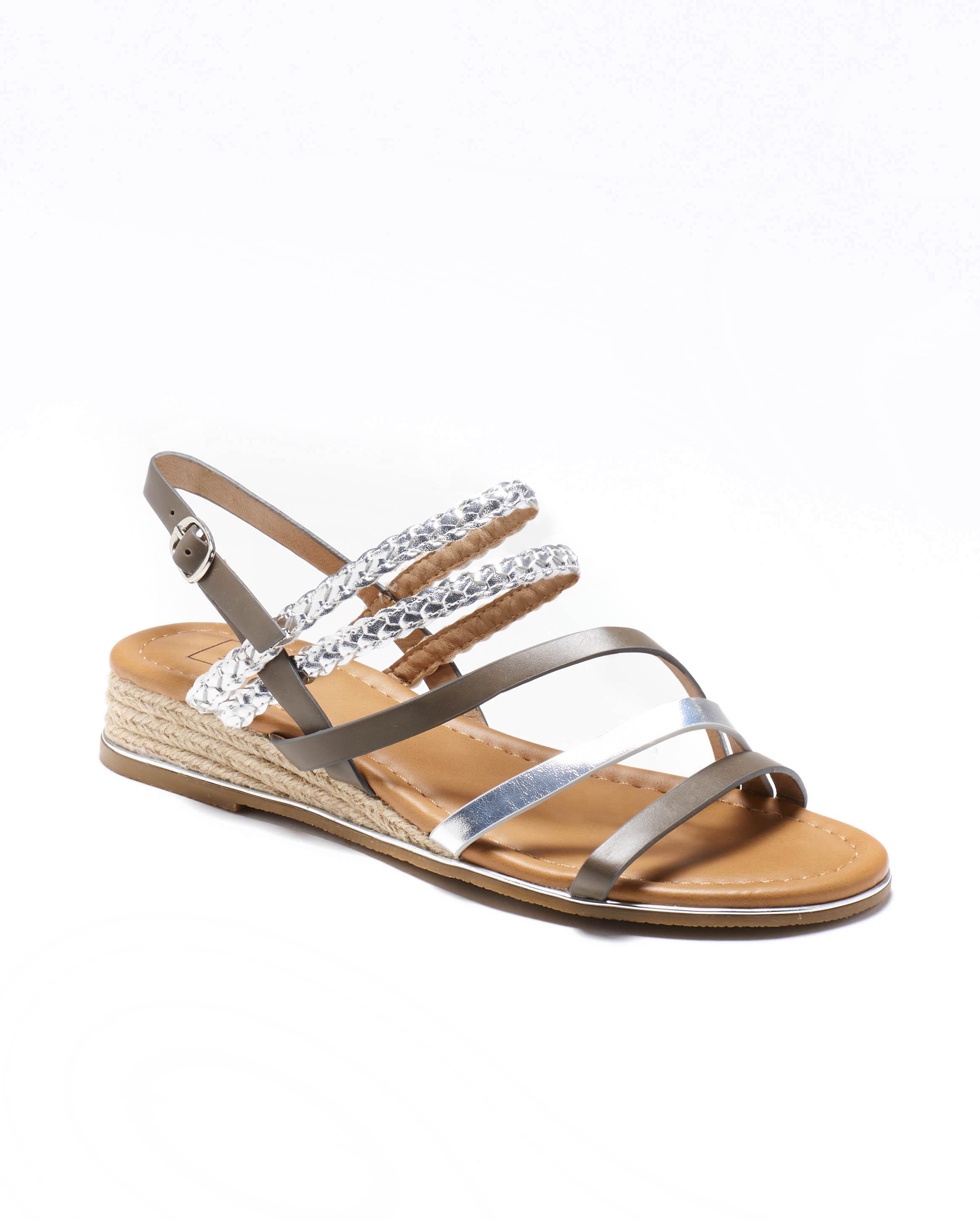 Sandales Compensées Femme - Sandale Talon Compensee Gris Jina - M20s1389-04