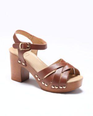 Sandales À Talons Femme - Sandale Talon Decrochee Camel Jina - 725