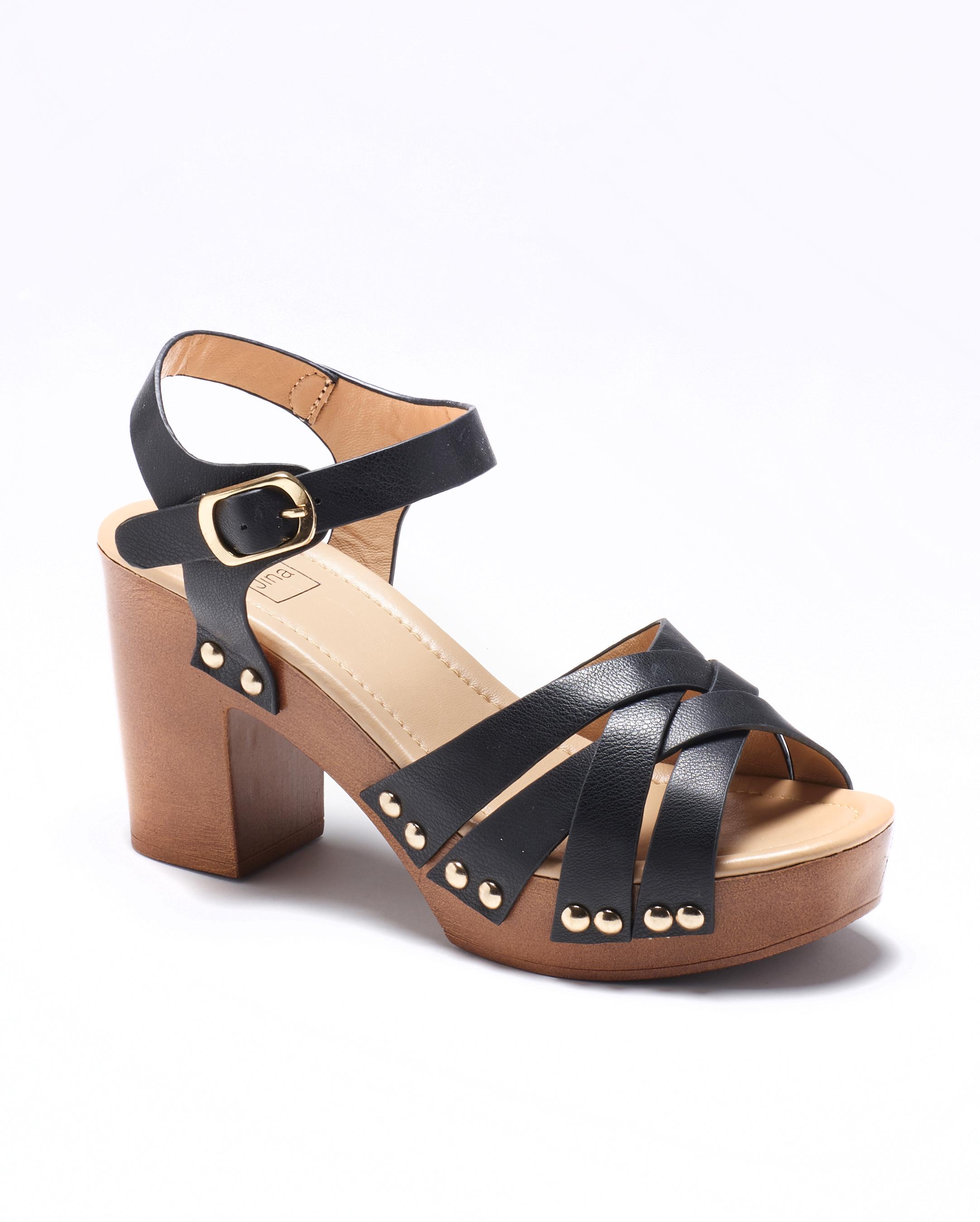 Sandales À Talons Femme - Sandale Talon Decrochee Noir Jina - 725