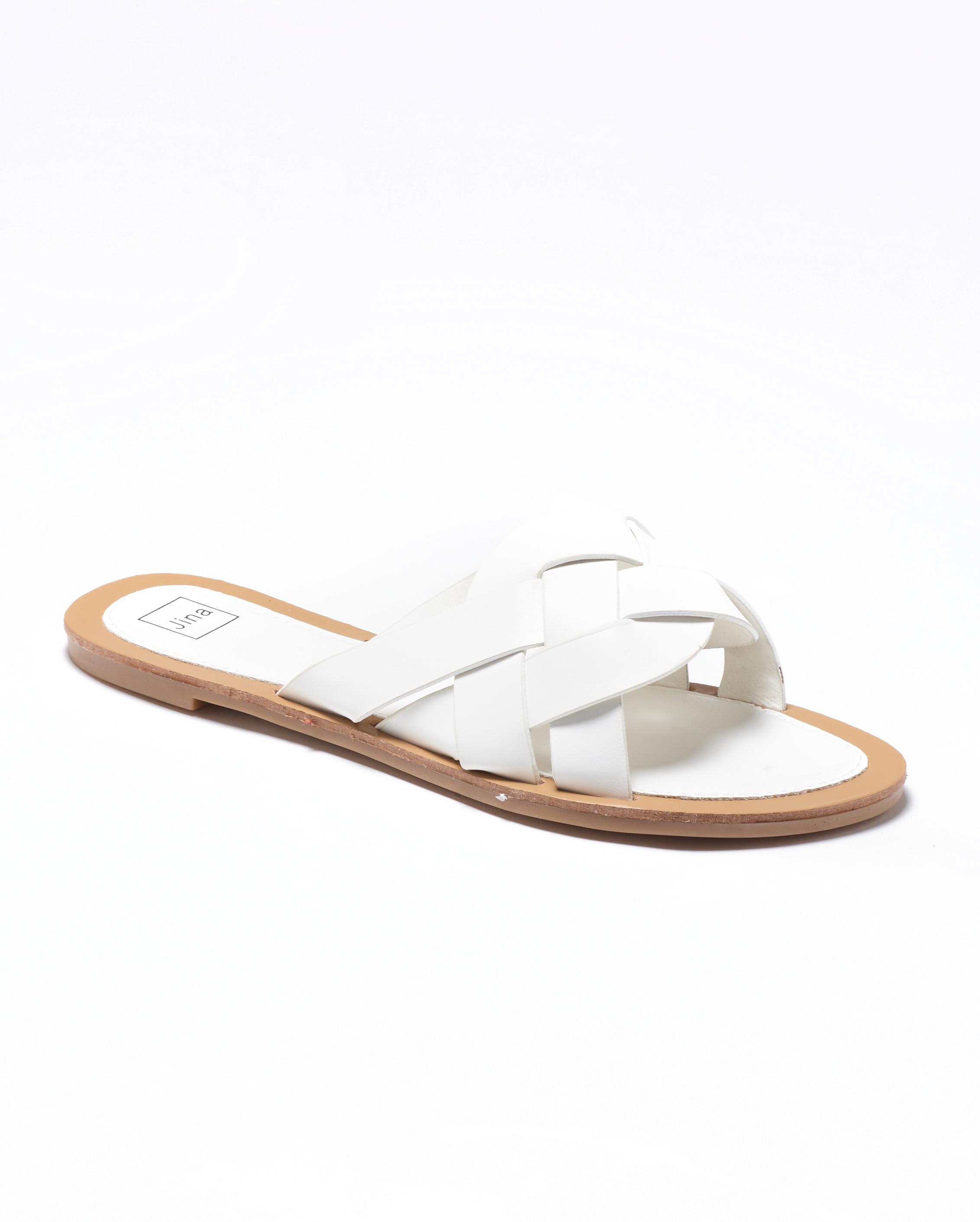 Mules Femme - Mule Plate Blanc Jina - Fs201029-05