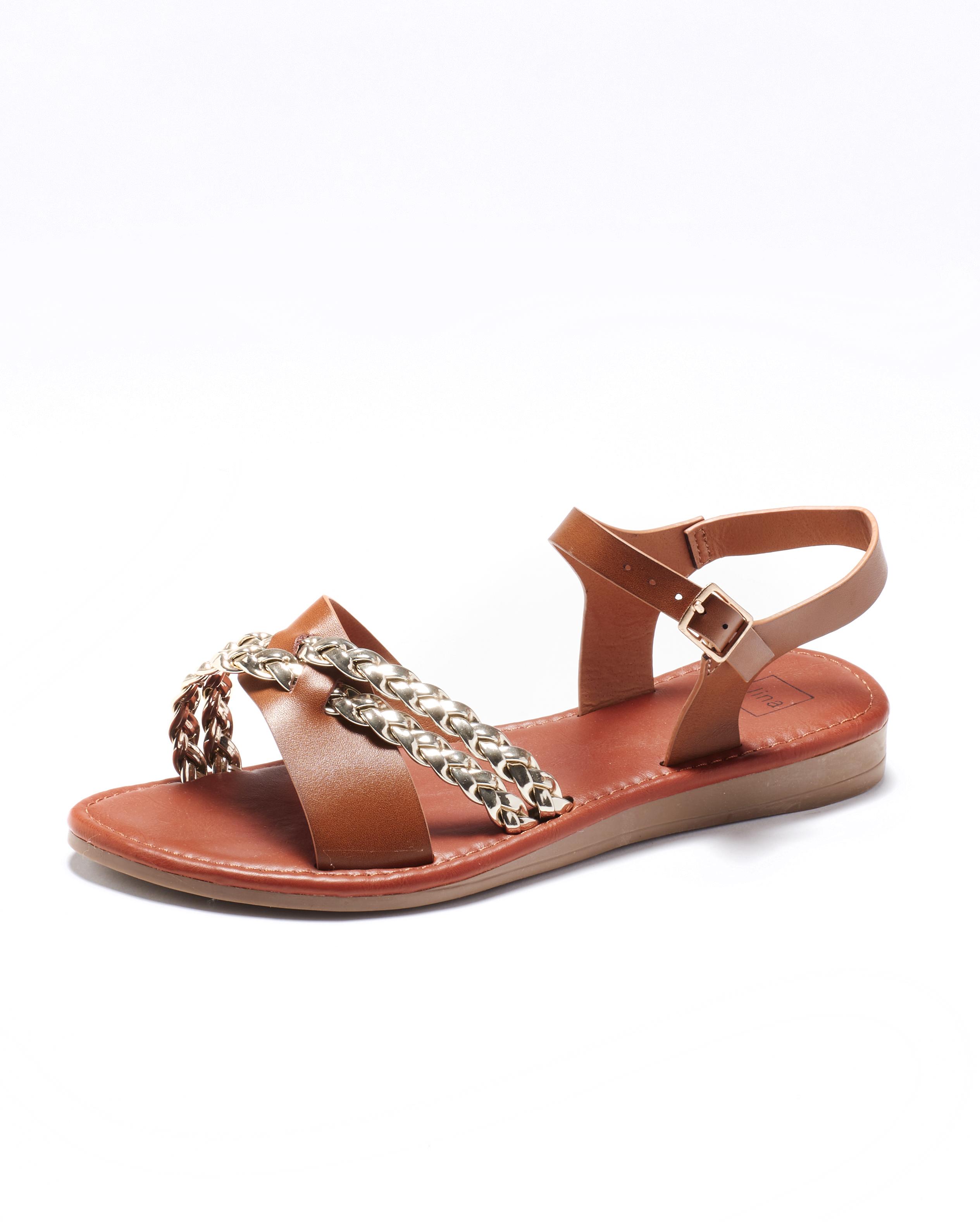 Sandales Plates Femme - Sandale Plate Camel Jina - Fs0741404