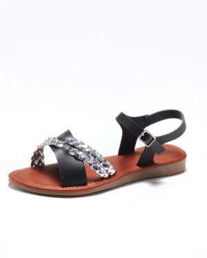 Sandales Plates Femme - Sandale Plate Noir Jina - Fs0741404