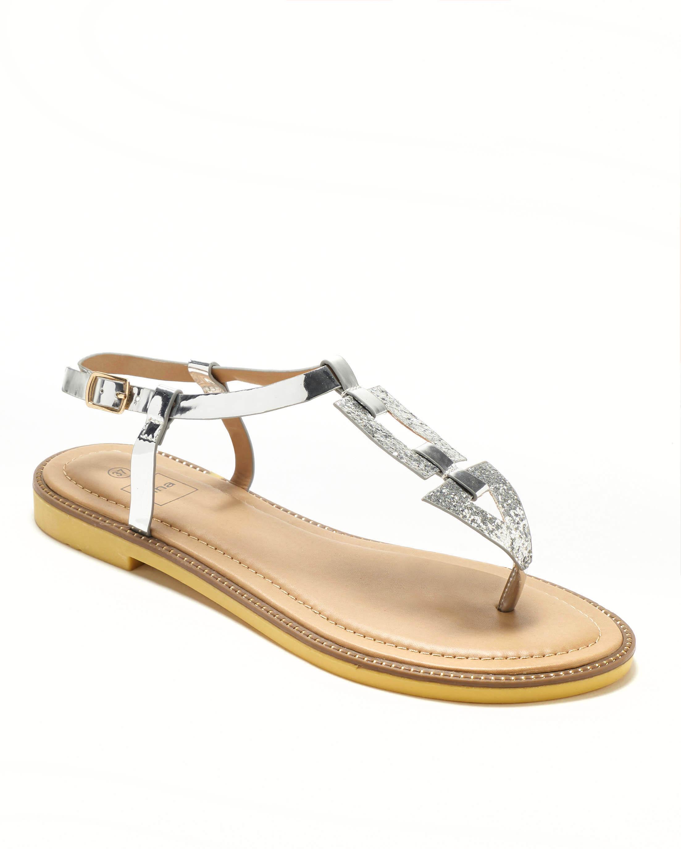 Sandales Plates Femme - Sandale Plate Argent Jina - F70009-03