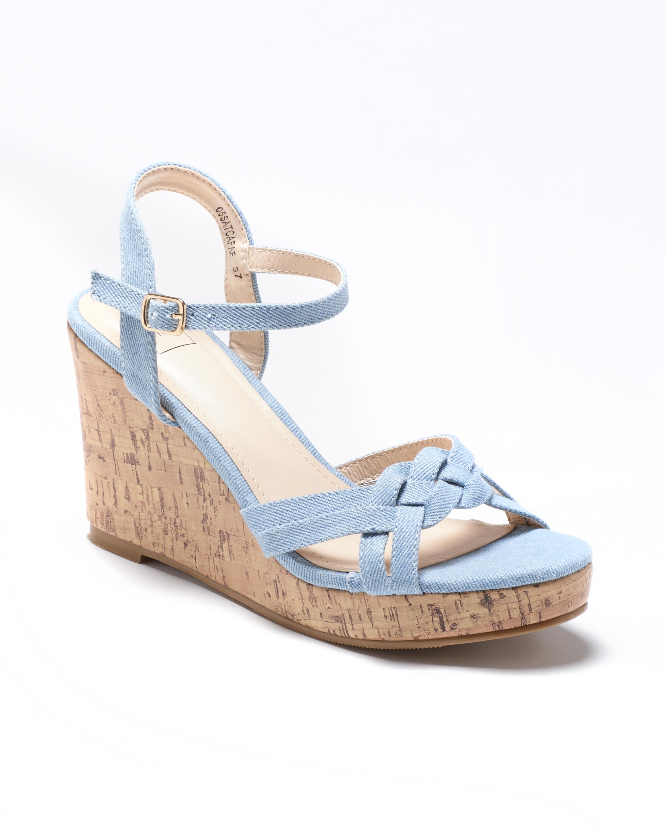 Sandales Compensées Femme - Sandale Talon Compensee Denim Clair Jina - Westley Satc 1