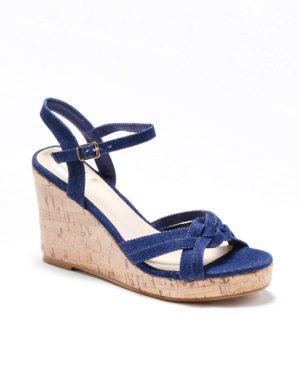 Sandales Compensées Femme - Sandale Talon Compensee Denim Brut Jina - Westley Satc 1