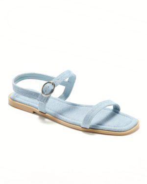 Sandales Plates Femme - Sandale Plate Denim Clair Jina - Style 1 Zh P04