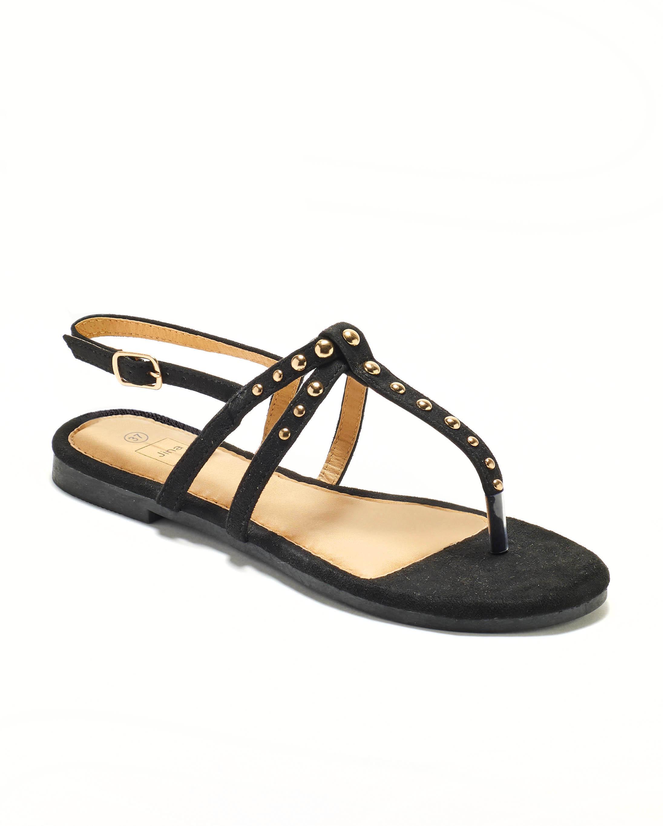 Sandales Plates Femme - Sandale Plate Noir Jina - Style 5 Zh P04