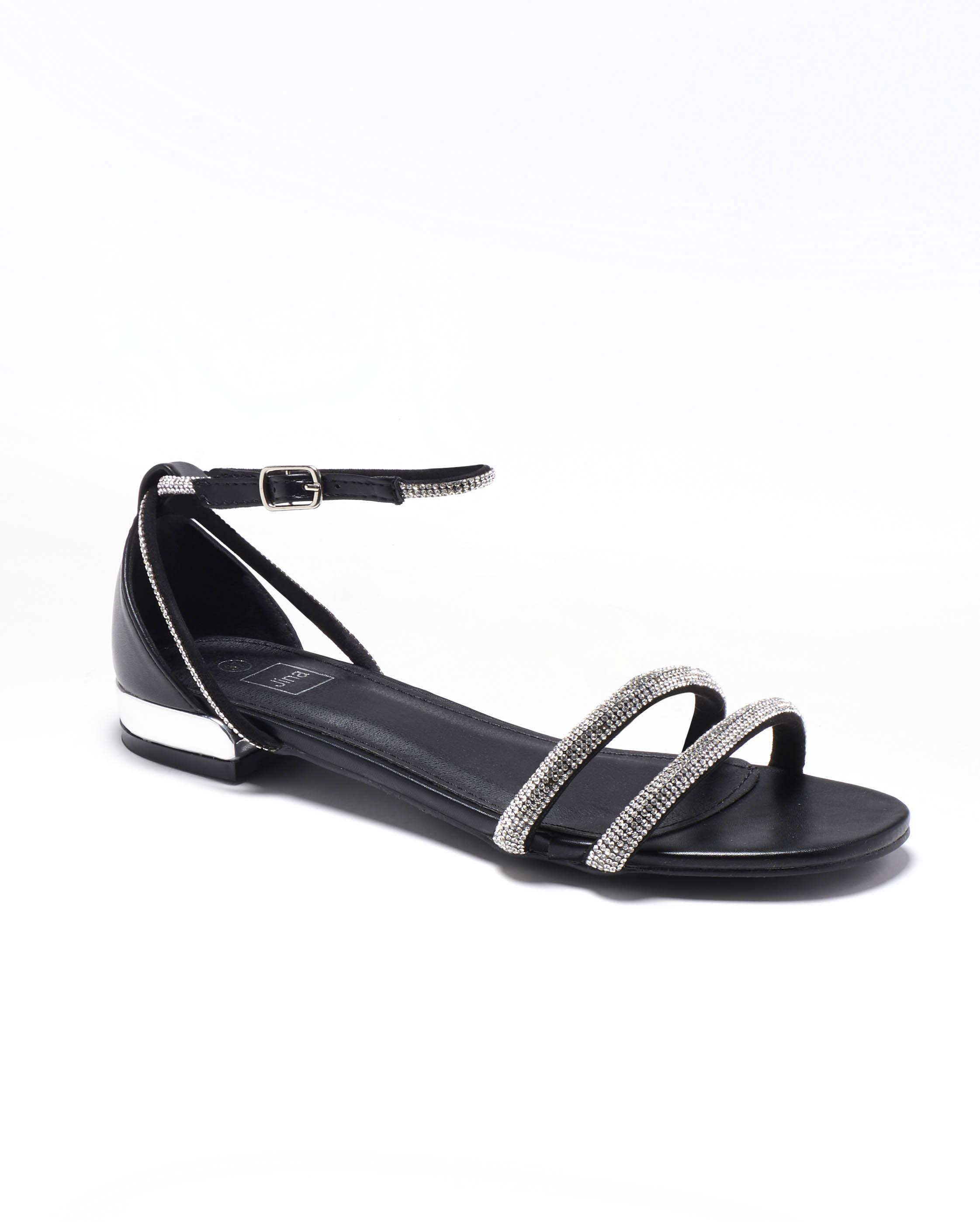Sandales Plates Femme - Sandale Plate Noir Jina - Bhc-7