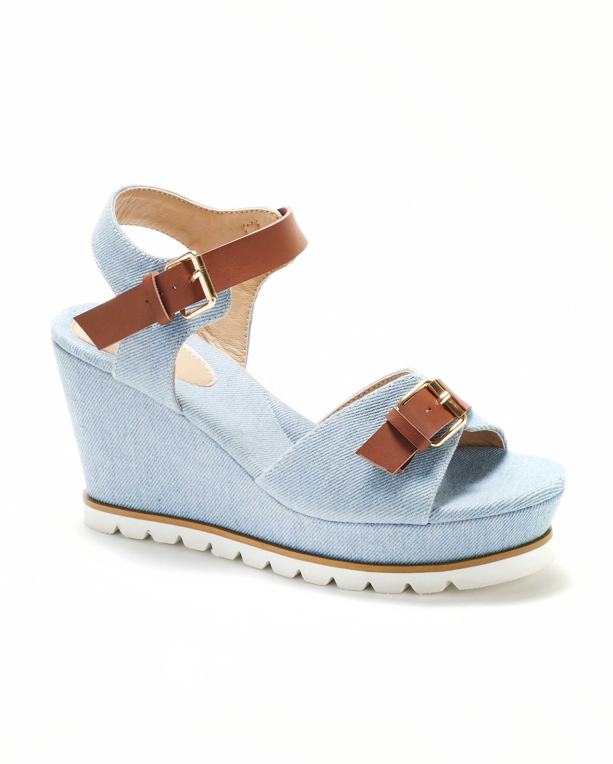 Sandales Compensées Femme - Sandale Talon Compensee Denim Clair Jina - Cy17-1