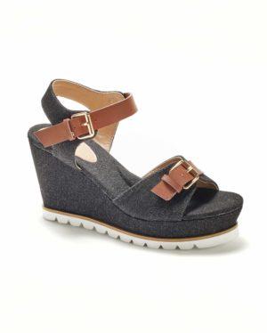 Sandales Compensées Femme - Sandale Talon Compensee Denim Noir Jina - Cy17-1
