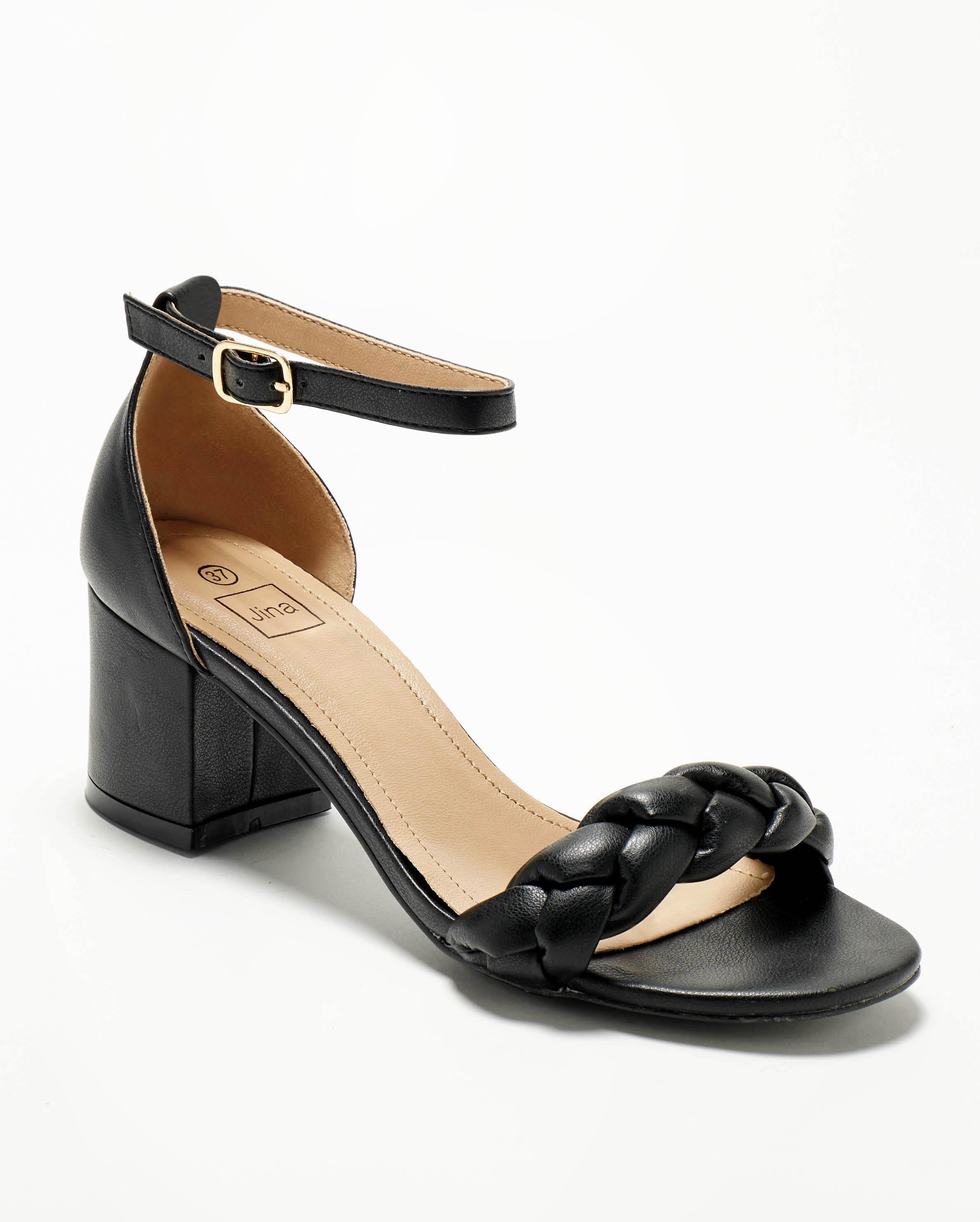 Sandales À Talons Femme - Sandale Talon Decrochee Noir Jina - Lja5139-3a