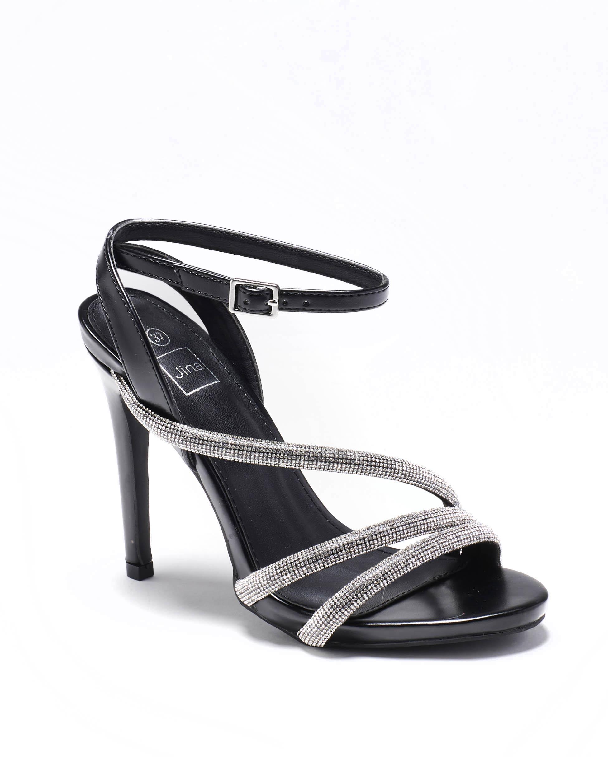 Sandales À Talons Femme - Sandale Talon Decrochee Noir Jina - Bhc-3
