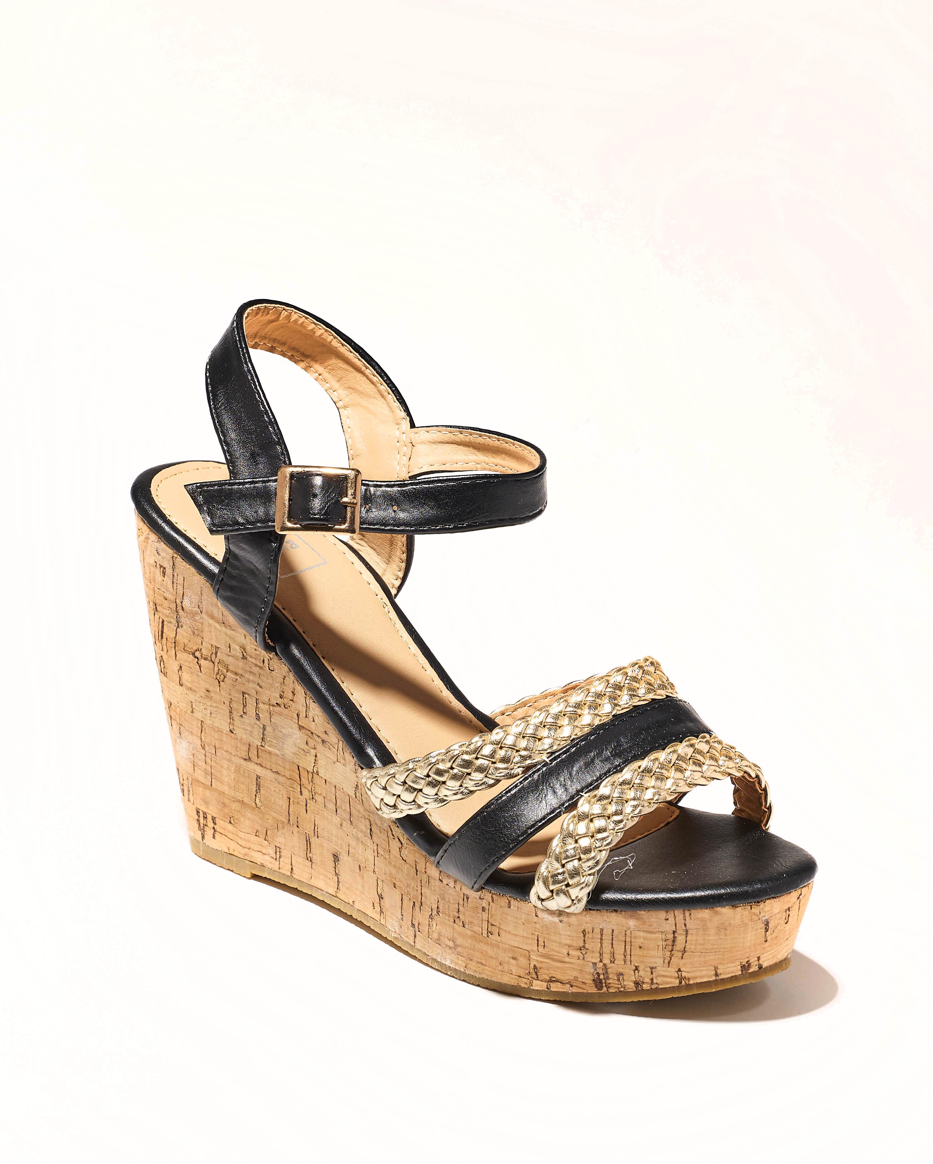 Sandales Compensées Femme - Sandale Talon Compensee Noir Jina - 8s0015