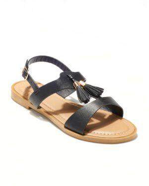 Sandales Plates Femme - Sandale Plate Noir Jina - Fwcz0705-02