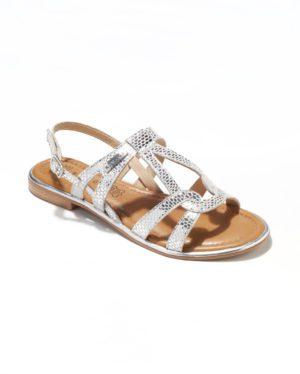 Sandales Plates Femme - Sandale Plate Argent Jina - Saint Tropez