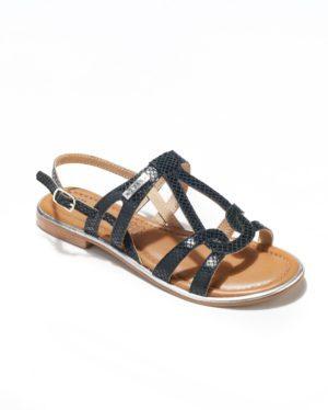 Sandales Plates Femme - Sandale Plate Noir Jina - Saint Tropez