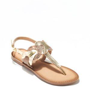 Sandales Plates Femme - Sandale Plate Or Jina - E-01381