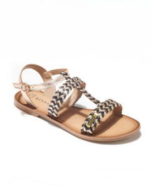 Sandales Plates Femme - Sandale Plate Noir Jina - E-020243